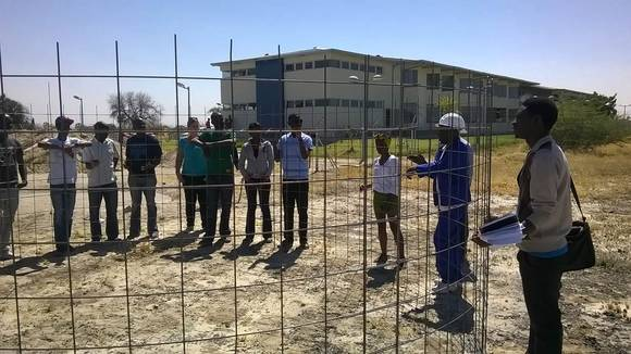 Namibian students visiting the construction site
