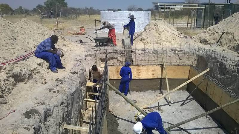 Underground Water Tank Construction : Field lab university of namibia cuve waters